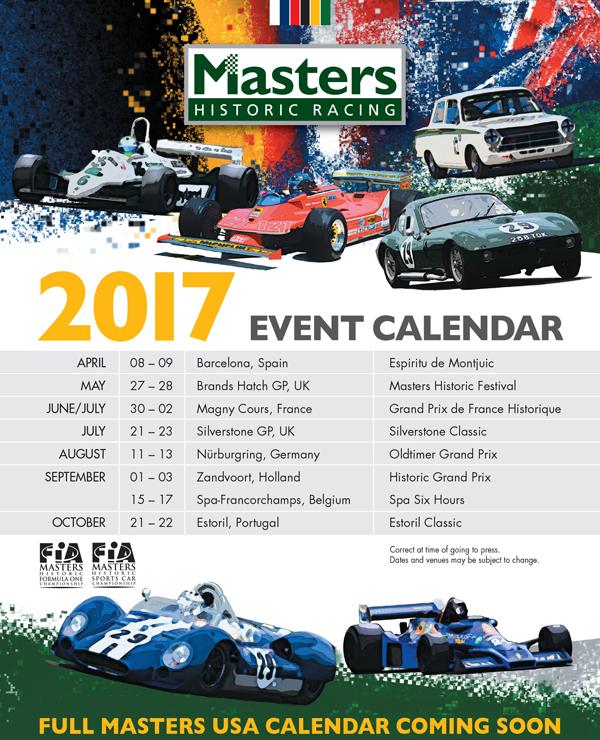 Masters Historic 2017 Event Calendar